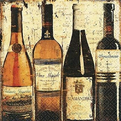 4 x Paper Napkins - Wine Bottles - Ideal for Decoupage / Napkin Art