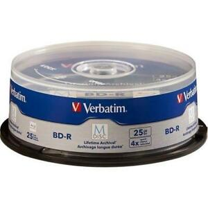 Verbatim M-Disc BD-R 25GB 4X with Branded Surface - 25pk Spindle - 120mm - TAA Compliance