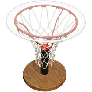 End Table Basketball Rim Glass Sports Furniture Living Room Indoor Home Decor