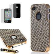 Leather Back Case Cover for iPhone 4