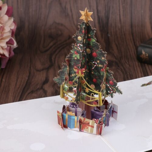 Handmade 3D Pop Up Greeting Cards Merry Christmas Tree Xmas