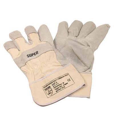 12 Paar Arbeitsschutz-Handschuhe, Größe:10,5 aus Rind-/Spaltleder EN388-CAT.2 CE