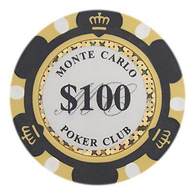 Monte Carlo Premium 14g Poker Chips, $100 Clay Composite, (Composite Poker)