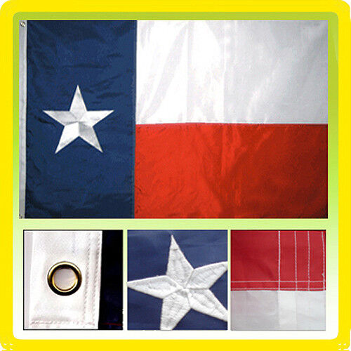 4x6 Ft Texas Flag Embroidered Nylon Sewn TX Lone Star State Deluxe