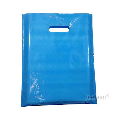 300 Sky Blue Plastic Carrier Bags 10
