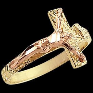 cross crucifix jesus ring 14k yellow gold band religious