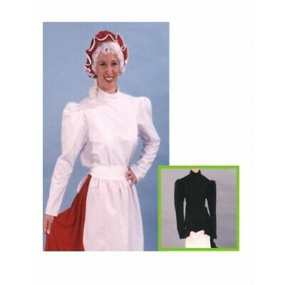ADULT WOMENS LADIES 19TH VICTORIAN GIBSON GIRL BLACK WHITE COSTUME BLOUSE - Victorian Girl Kostüm