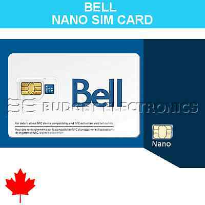 NEW Bell Mobility Prepaid Nano SIM Card for iPhone 5 iPhone 6 Canada Travel for sale  North York