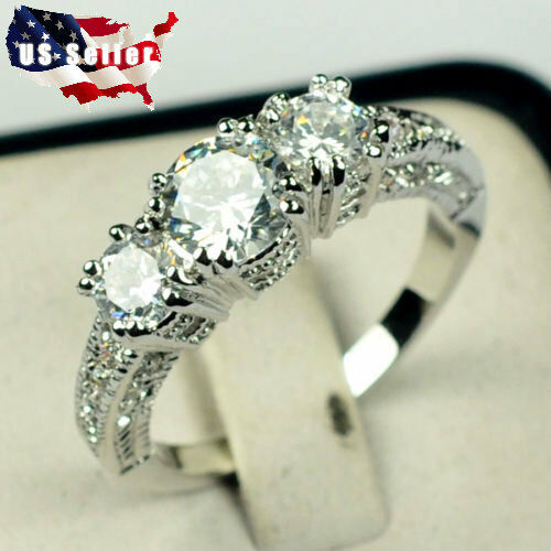 White Sapphire Silver Wedding Band Ring 10KT White Gold Filled Jewelry Size 6-9 Fashion Jewelry