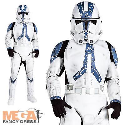 Deluxe Clone Trooper Boys Fancy Dress Star Wars Sci-Fi Movie Kids Costume Outfit ()