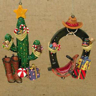 Western Horseshoe & Cactus Ornaments](Western Christmas Ornaments)