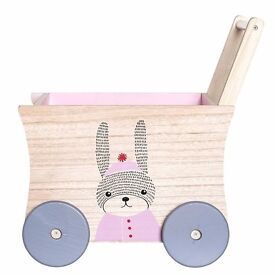 Wooden Push Cart Wagon Childrens Push Along Toy/Toys Storage Box by Bloomingville Denmark RRP £129