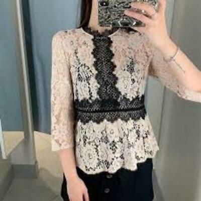 ZARA Dusty Pink Black Structured Contrast Lace Top Shirt blouse MEdium M Beige