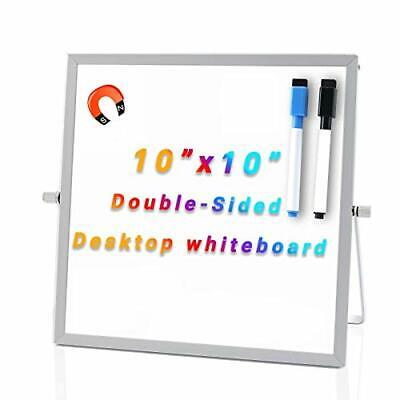 Small Dry Erase Board 10x10 Desktop Whiteboard W Stand Magnetic Double Sided