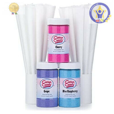 Cotton Candy Floss 50-Cones Flossine Sugar Flavoring Machine Maker Supplies Kit