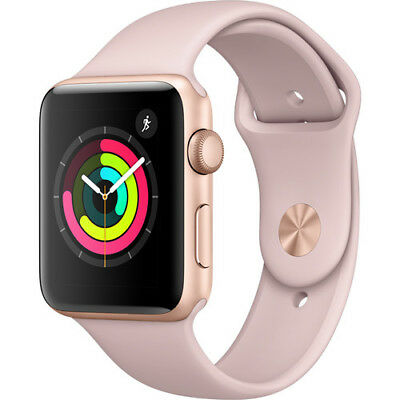 New Apple Watch Series 3 42Mm Rose Gold Aluminum Case Pink Sand Sport Band Gps