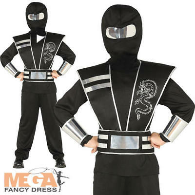 Ninja Boys Fancy Dress Japanese Samurai Warrior Spy Kids Book Day Costume Outfit (Spy Kids Outfit)