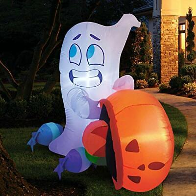 5FT Halloween Inflatable Ghost Dump Blow Up Pumpkin Candy Bag with Build-in LEDs