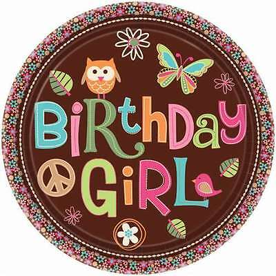 HIPPIE CHICK SMALL PAPER PLATES (8) ~ Birthday Party Supplies Cake Dessert Pink