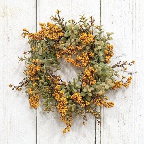 "New Farmhouse Primitive MUSTARD EUCALYPTUS FLORAL CANDLE RING Wreath 6"""