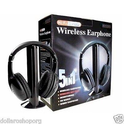 Cuffie Hi-Fi Wireless Senza fili 5in1 per Tv Mp3 Audio TV Pc cd dvd Radio HIFI