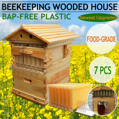 US 7Pcs Upgraded Auto Honey Hive Beehive Frames + Beekeeping Brood Cedarwood Box