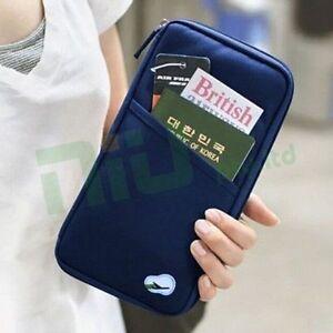 OZ Travel Wallet Passport Holder Document Organiser Bag Ticket Credit Card Case