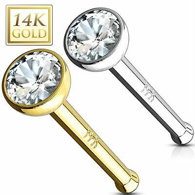 14K Solid Gold Clear 2 mm Bezel Set CZ Nose Bone Stud Nose Ring 20 g or 18 gauge