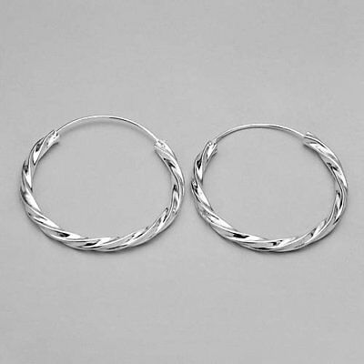 STERLING SILVER 925 QUALITY 37 MM TWISTED STYLE HOOP EARRINGS - $27.00