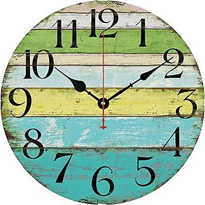 (Grazing 12 Vintage Blue Green Yellow Stripe Rustic Country Wooden Wall Clock)