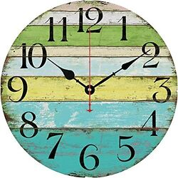 Grazing 12 Vintage Blue Green Yellow Stripe Rustic Country Wooden Wall Clock
