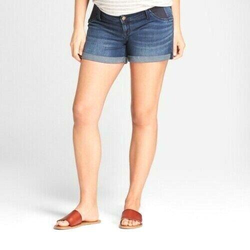 "Isabel Maternity Jean Shorts Midi Side Inset Panel Cuffed Dark Wash 4"" Inseam"