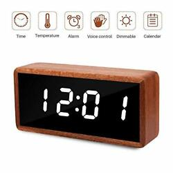 MiCar Digital Alarm Clock, Solid Wood LED Desk Alarm Clock with Large Display,