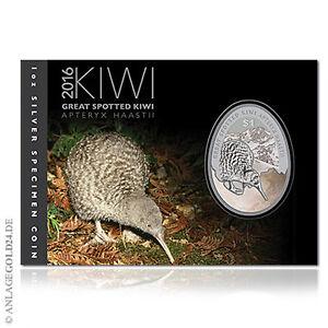 1 oz Silber Kiwi Neuseeland 2016 1 New Zealand Dollar im offiziellen Blister