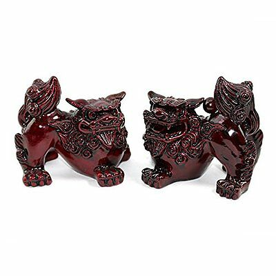 "Feng Shui Pair of 2"" Red Fu Foo Dogs Guardian Lion Statue Paperweights Gift"