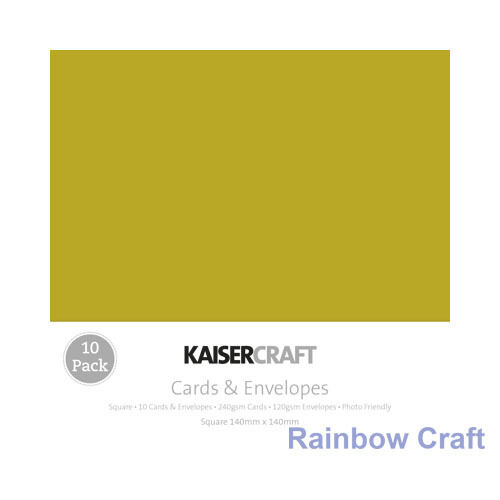 Kaisercraft 10 blank Cards & Envelopes Square / C6 size (12 selections) - Olive
