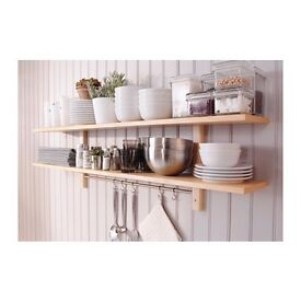BNIB - Ikea Kitchen Shelf - wooden birch, double shelves, with rail and hooks