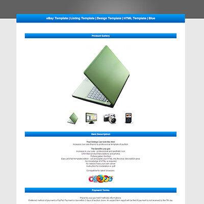 eBay Template | Listing Template | Design Template | HTML Template | Blue