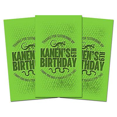 10 Reptile Lizards Snakes Theme Birthday Party Personalized Thank You Tags - Reptile Birthday Party