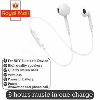 New Wireless Headphones Earphones Stereo Extra Bass White For IOS Android