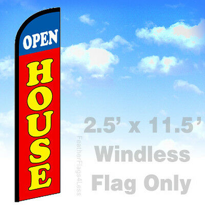 Open House Windless Swooper Flag 2.5x11.5 Feather Banner Sign - Rf