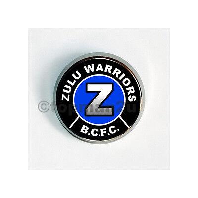 New Quality Circular Metal Pin Badge ZULU WARRIORS, BCFC, Birmingham, Blues City