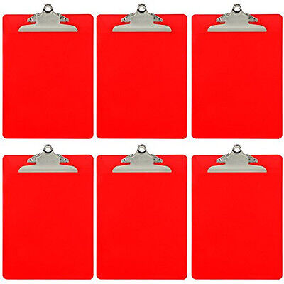Plastic Clipboard Opaque Color Letter Size Standard Clip Pack Of 6 Red