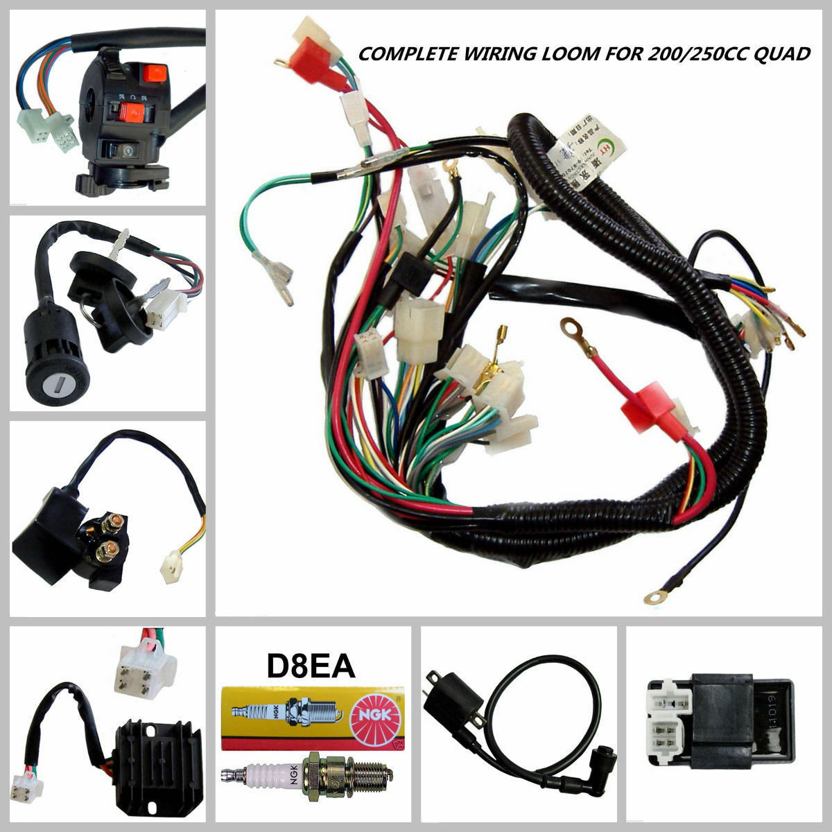 Full Wiring Harness Loom Solenoid Coil Regulator Cdi 150 200 250cc Bicycle Atv Quad Bike