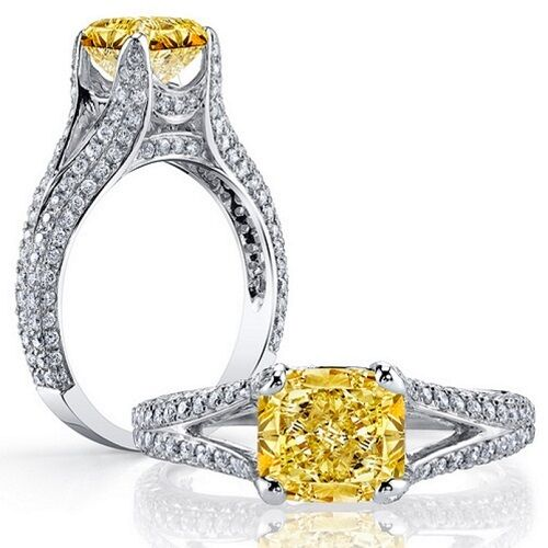 2.45ct Fancy Yellow Cushion Cut Split Shank Diamond Engagement Ring GIA Certifid