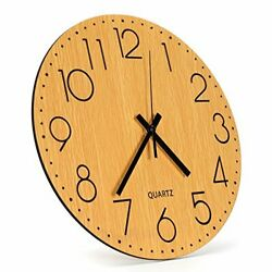 12 Color Wooden Wall Clock Super Silent Non Ticking Quartz Battery Operated