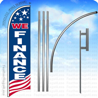 We Finance - Windless Swooper Flag 15 Kit Feather Banner Sign - Usa Bb