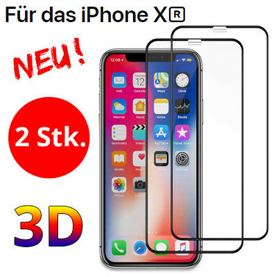 2x Apple iPhone XR Schutzglas Panzerfolie Full Screen Display Glas 6D 5D 4D 3D