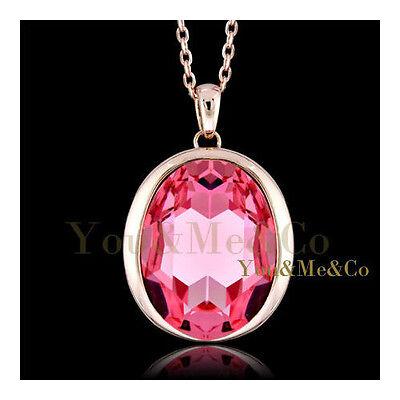 Huge 18k Rose Gold EP Brilliant & Oval Cut Sapphire Crystal Pendant covid 19 (Brilliant Cut Pink Sapphire Necklace coronavirus)