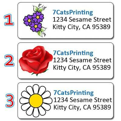 30 Personlized Return Address Labels Red Rose White Daisy Purple Flowers Printed
